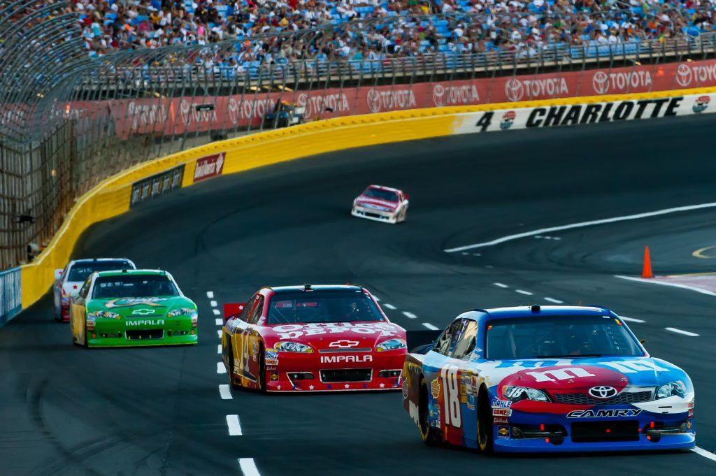 Car racing at Charlotte Motorspeedway in Charlotte
